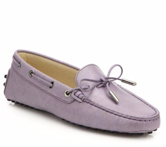Tod's Gommini Tie-Front Saffiano Leather Drivers