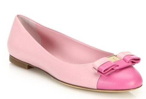 Salvatore Ferragamo  Varina Bicolor Saffiano Leather Cap-Toe Ballet Flats @ Saks Fifth Avenue
