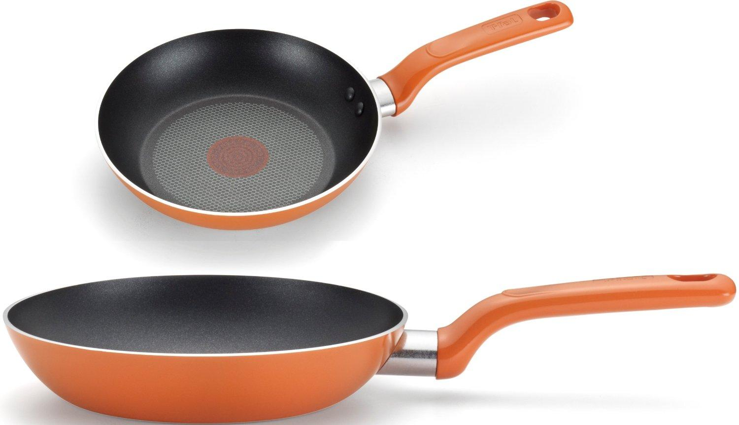 T-fal C971S2 Excite Nonstick Thermo-Spot Dishwasher Safe Oven Safe PFOA Free 8-Inch and 10.25-Inch Fry Pan Cookware Set, 2-Piece, Orange