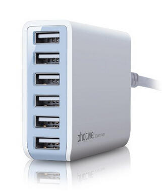 Photive 60 Watt 6 Port USB Desktop Rapid Charger