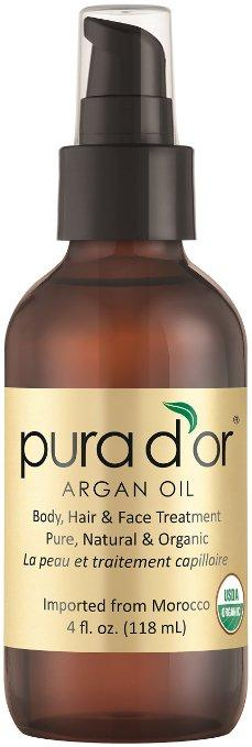 $17.36 PURA D'OR Moroccan Argan Oil 100% Pure & USDA Organic For Face, Hair, Skin & Nails, 4 Fluid Ounce