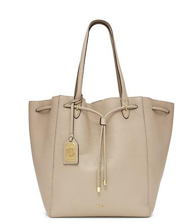 LEATHER DRAWSTRING TOTE @ Ralph Lauren