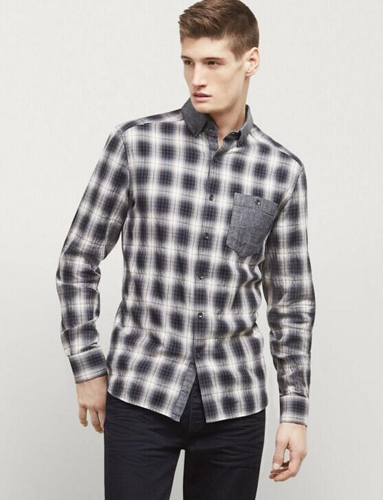 LONG-SLEEVE OMBRE HERRINGBONE SHIRT @ Kenneth Cole