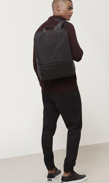 LEATHER AND NYLON CONVERTIBLE BACKPACK @ Kenneth Cole