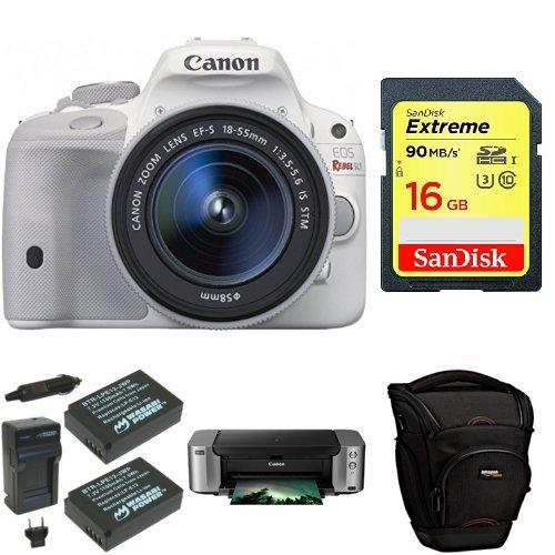$449 Canon EOS Rebel SL1 Digital SLR with 18-55mm STM Lens (White) + PIMXA Pro 100 Printer, Photo Paper, Memory Card, Bag and Battery
