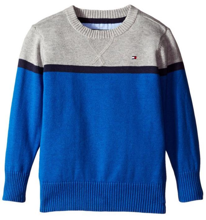 Tommy Hilfiger Boys' Long Sleeve Pete Crew Sweater @ Amazon