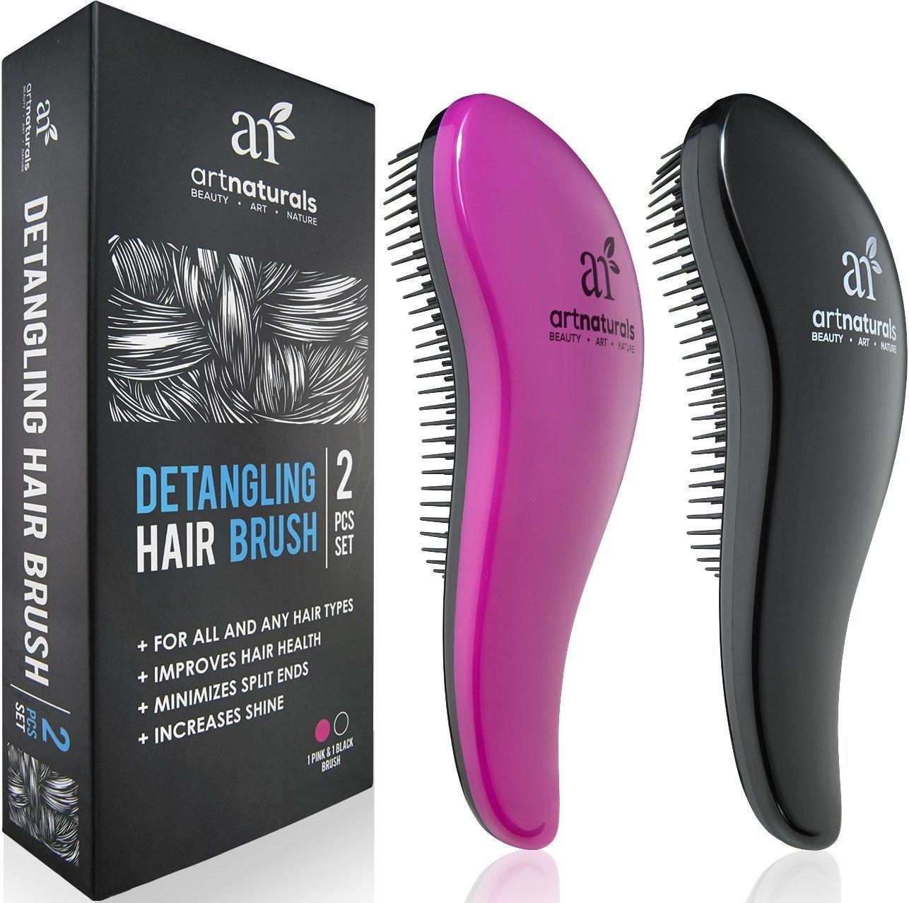 Art Naturals Detangling Hair Brush Set (Pink & Black)