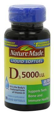 $7.16 Nature Made Vitamin D-3, 5000IU, 90 Softgels