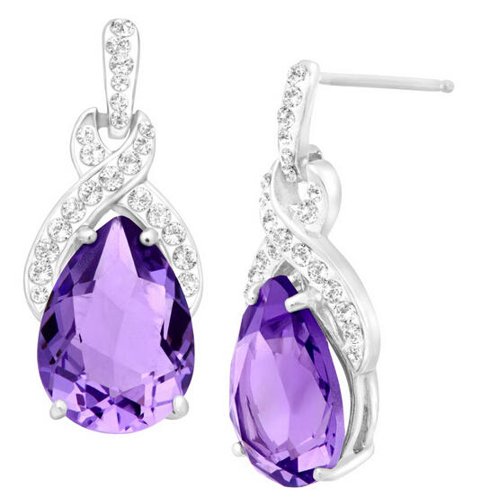Drop Earrings with Tanzanite Swarovski Crystals