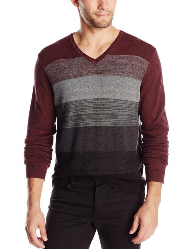 Calvin Klein Men's Jersey Striped V-Neck Sweater @ Amazon