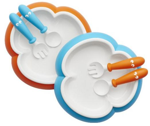 BABYBJORN Baby Plate/Spoon and Fork, Orange/Turquoise @ Amazon