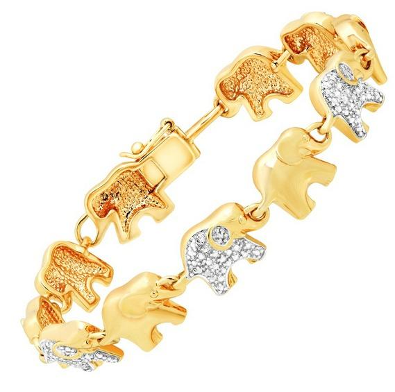 Elephant Link Bracelet with Diamond