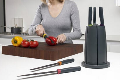 Joseph Joseph 6-Piece Knife Set with Rotating Knife Block, Elevate