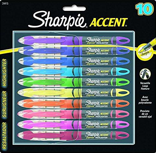 Sharpie Accent Pen Style Liquid Highlighter, Chisel Tip, 10 Pack