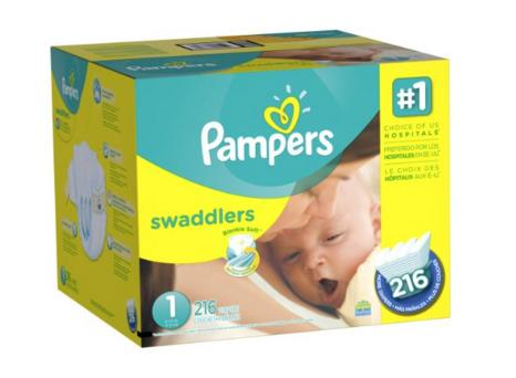 Pampers Swaddlers Diapers Size 1 Economy Pack Plus, 216 Count
