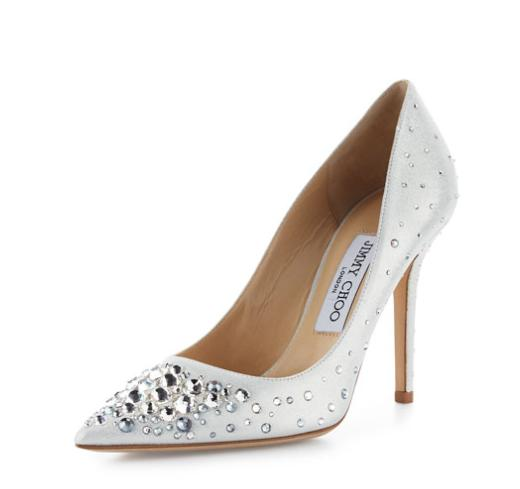 $1050+$300GC Jimmy Choo Abel Crystal Pointed-Toe Pump, White