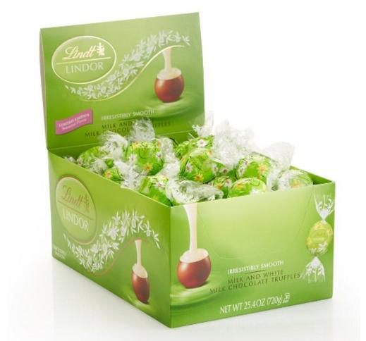 14.02 Lindt Lindor Spring Flower, Milk & White Milk Chocolate Truffles Box, 60 Count
