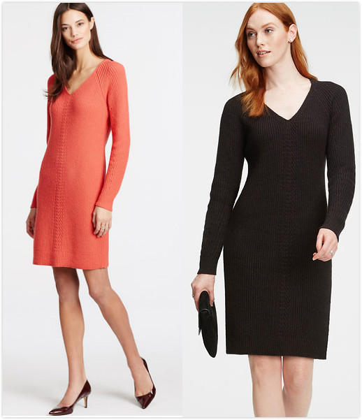 $17.92 Ribbed Stitch Sweater Dress On Sale @ Ann Taylor