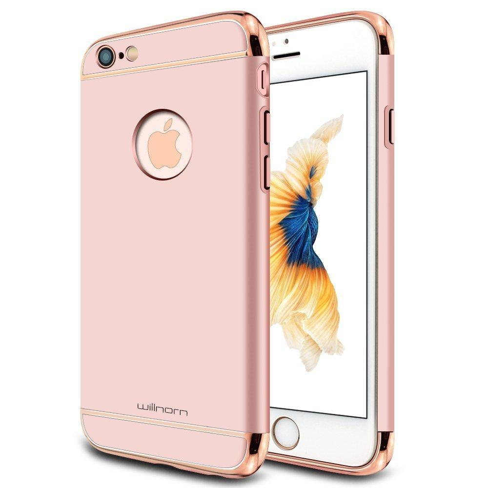 Willnorn Electroplate Frame Ultra-thin Hard Case for Apple iPhone 6/6s, Rose Gold