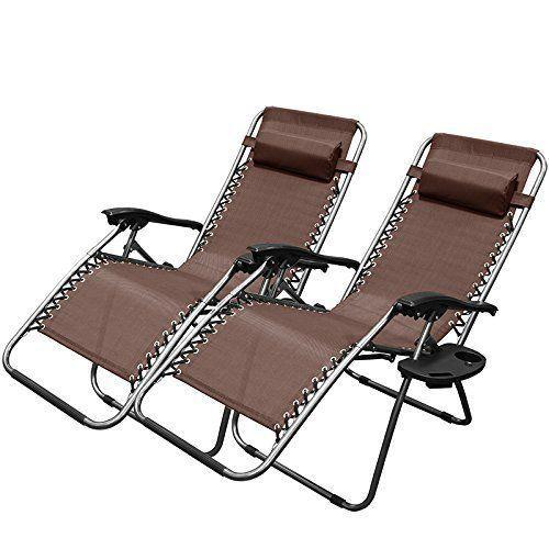 Zero Gravity Chairs Case Of (2) Black Lounge Patio Chair Outdoor Yard Beach Pool