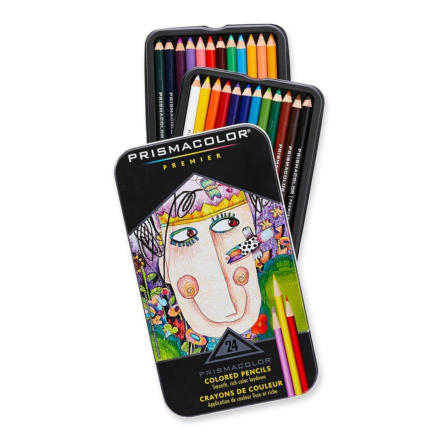 Prismacolor Premier Soft Core Colored Pencil, Set of 24 Assorted Manga Colors