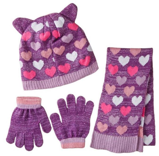 Toby & Company Girls' Critter Inspired 3 Piece Set with Computer Knit Hat @ Amazon