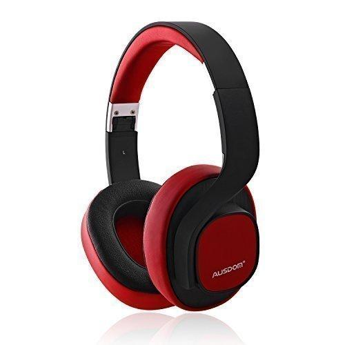 Ausdom M08 Wired Wireless Bluetooth Stereo Headphones with Mic (Red)