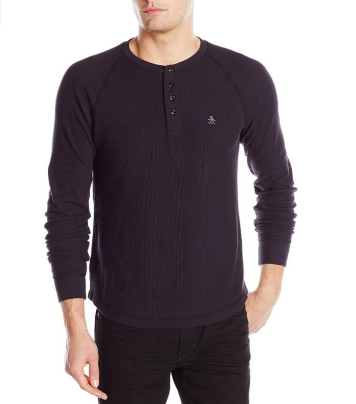 Original Penguin Men's Long-Sleeve Waffle-Thermal Henley Shirt