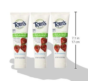 $8.35 Tom's of Maine Anticavity Fluoride Children's Toothpaste, Silly Strawberry, 4.2-Ounce, 3 Piece