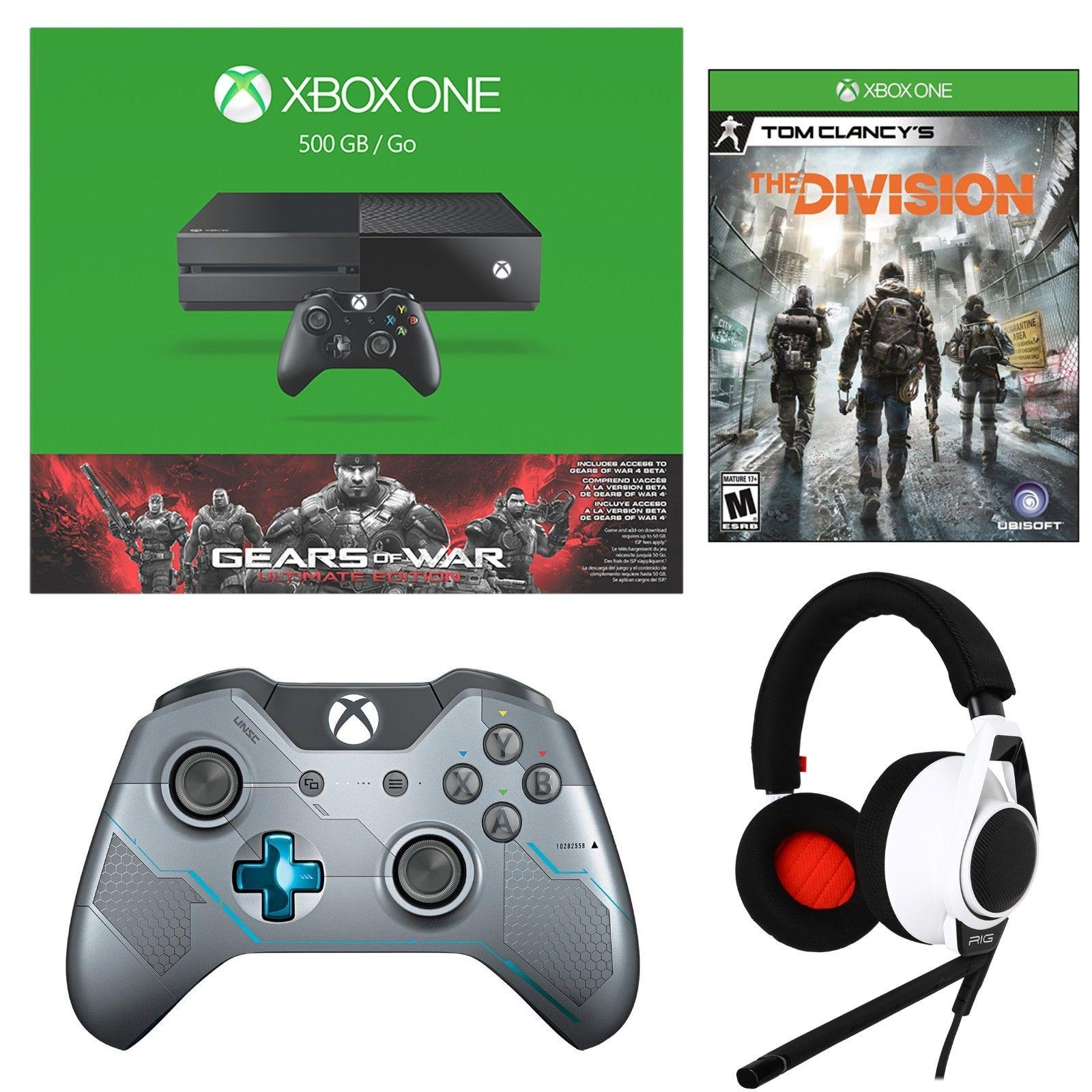 $359 Xbox One 500GB Bundle+ Tom Clancy's Division+ Halo 5 Controller+ Rig Flex Heads
