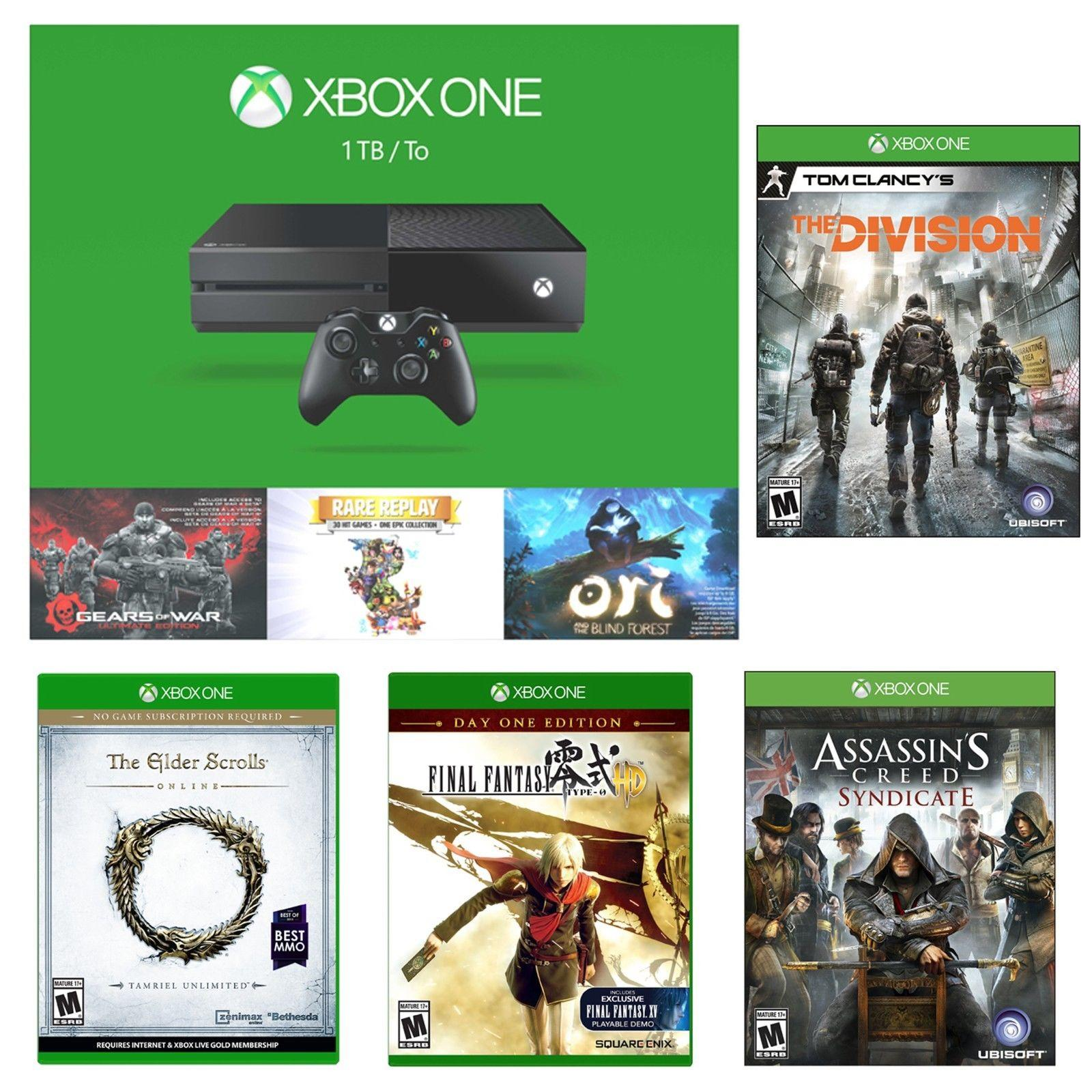 $399.00 XBox One 1TB Holiday Bundle+Division+Assassins Creed+Final Fantasy+Elder Scrolls