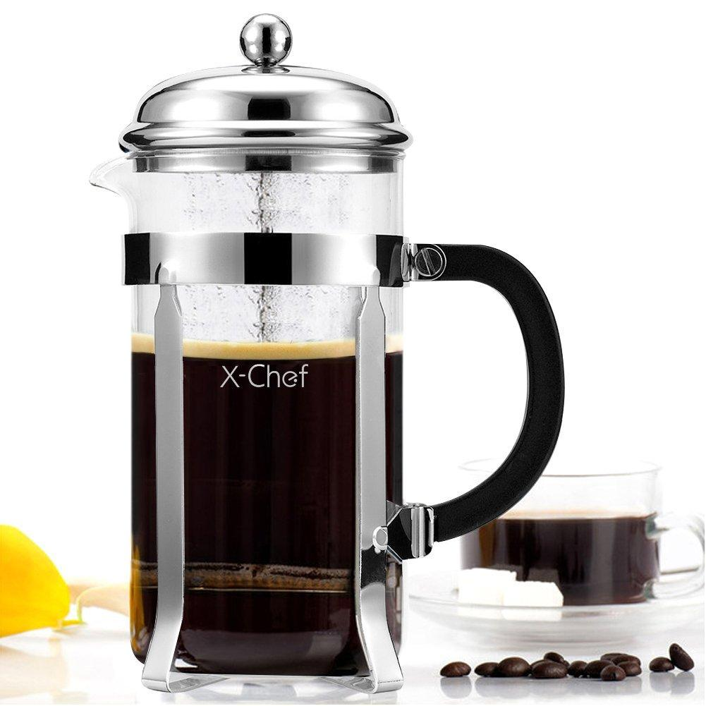 X-Chef Heat Resistant Glass Coffee Press Tea Maker Pot