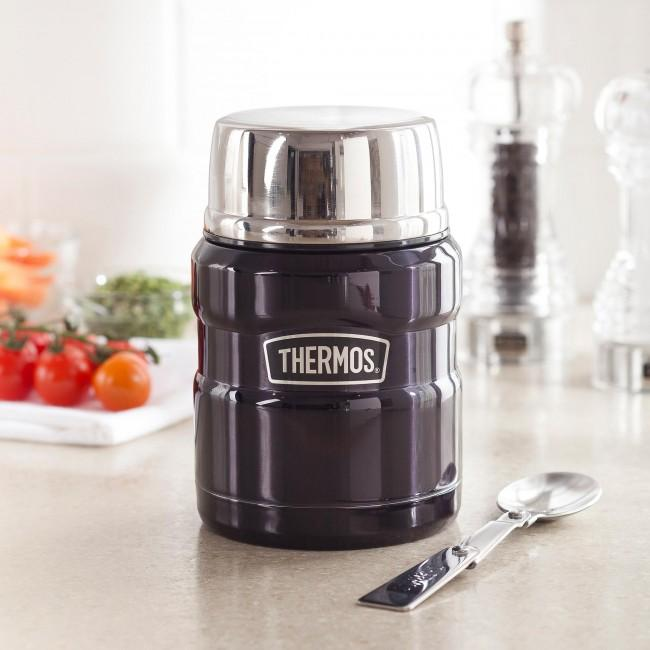 Thermos Stainless King Food Jar with Folding Spoon, 16 ounce,