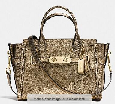 COACH SWAGGER 27 IN METALLIC PEBBLE LEATHER @ Bon-Ton