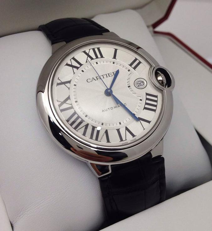 Cartier Ballon Bleu Automatic Silver Dial Stainless Steel Black Leather Men's Watch CRTW69016Z4