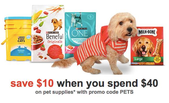 $10 off $40 + Extra 20% Off on Pet Care Purchase @ Target