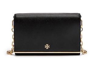 Tory Burch Robinson Patent Chain Wallet Cross-Body