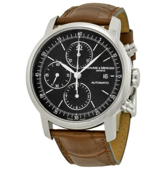 BAUME ET MERCIER Classima Chronograph Black Dial Leather Men's Watch