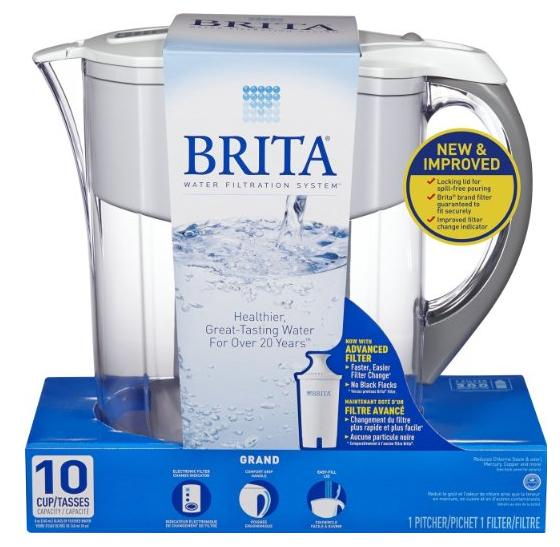 Brita Grand Water Filter Pitcher, Black Bubbles, 10 Cup