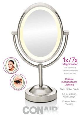 Conair True Glow Oval Satin Nickel Double-Sided Lighted Make-up Mirror
