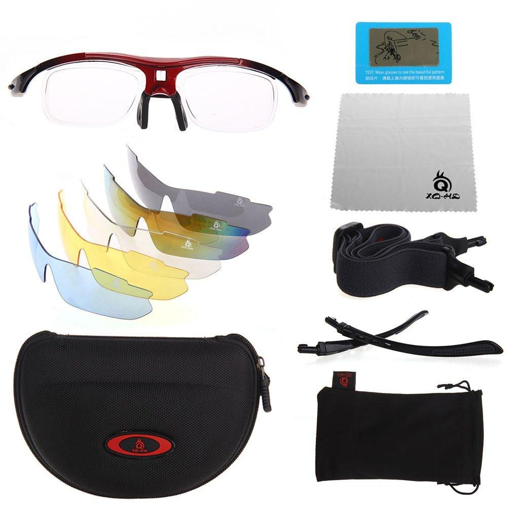 XQ-XQ Polarized UV Protection Sports Glasses Outdoor Wrap Sunglasses with 5 Interchangeable Unbreakable Lenses
