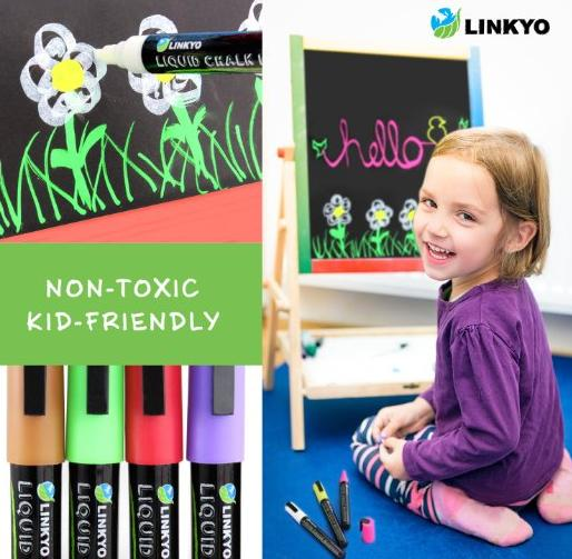 10-Color LINKYO Liquid Chalk Marker Pens with Erasable Ink and Reversible Tips @ Amazon