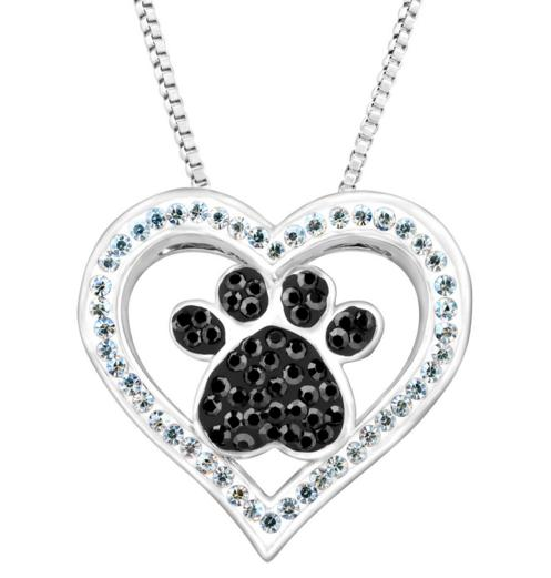 $19 Paw & Heart Pendant with Swarovski Crystals