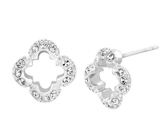 Petite Clover Stud Earring with Swarovski Crystals