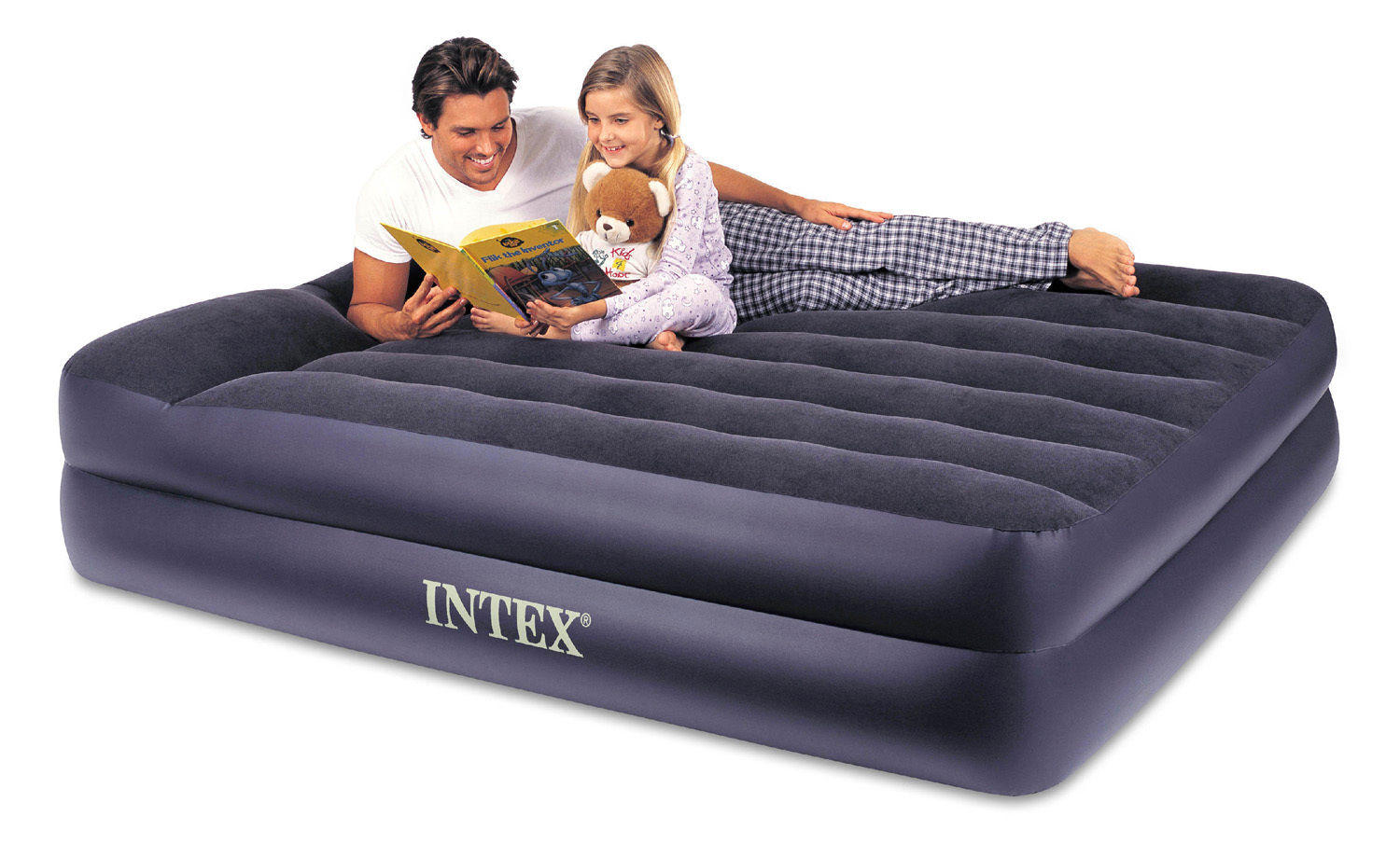 Intex Queen Pillow Rest Airbed Air Mattress Bed with Built-In Pump