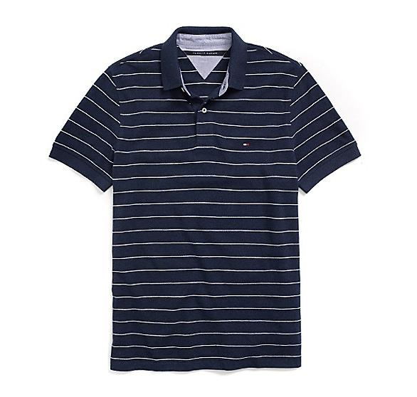 Tommy Hilfiger Men's Custom Fit Thin Stripe Pique Polo