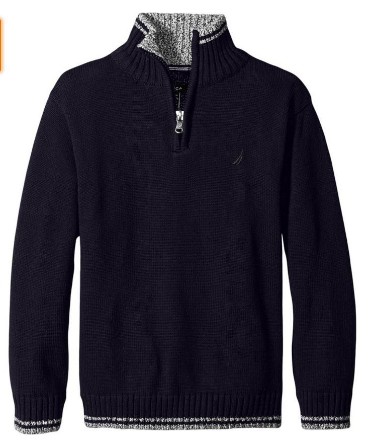 Nautica Boys' Zip Neck Sweater with Tipping