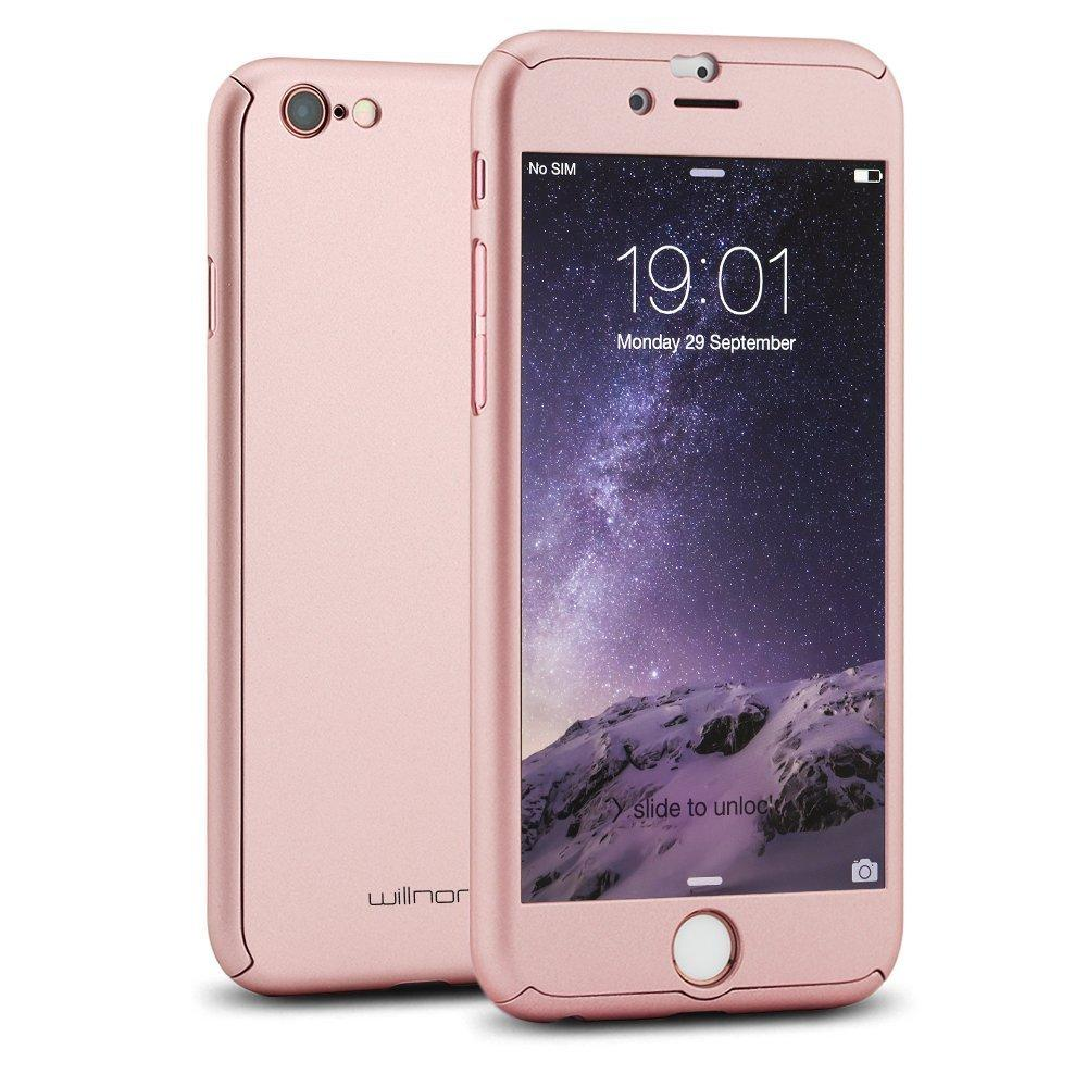 Willnorn Norn One Full Body Protection Hard Slim Case with Tempered Glass Screen Protector for Apple iPhone 6 (4.7-Inch) - Rose Gold