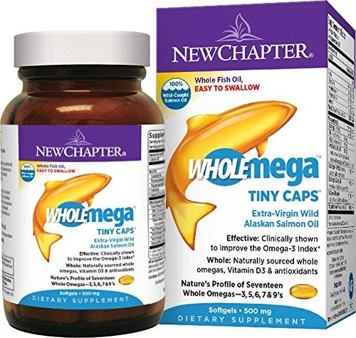 New Chapter Wholemega Fish Oil Supplement, 100% Wild Alaskan Salmon Oil with Omega-3 +