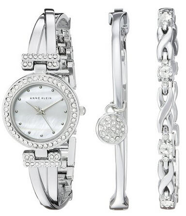 Anne Klein Women's AK/1869SVST Swarovski Crystal-Accented Silver-Tone Bangle Watch